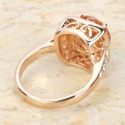 KCCHSTAR Delicate Cube Shaped Design 18K Gold Plated Alloy Shining Crystal Ring - Golden + Amber