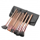 15-in-1 Portable Beauty Cosmetic Makeup Brush Set w/ Black Bag - Coffee
