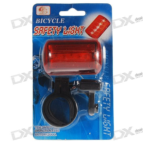 5-LED 4-Mode Safety Bike Tail Light with Mount - Red Light (2*AAA)