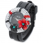 Flower Style Woman's Rubber Band Quartz Analog Waterproof Wrist Watch - Black + More (1 x 377)