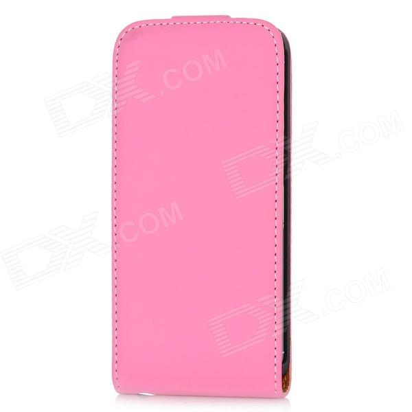Magro PU Leather Case-Flip Top w / slots para cartões para Iphone 5 - rosa