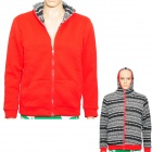 Simple Both Sides Wear Man's Warm Cotton Coat w/ Hat + Zipper - Red ( Size L)