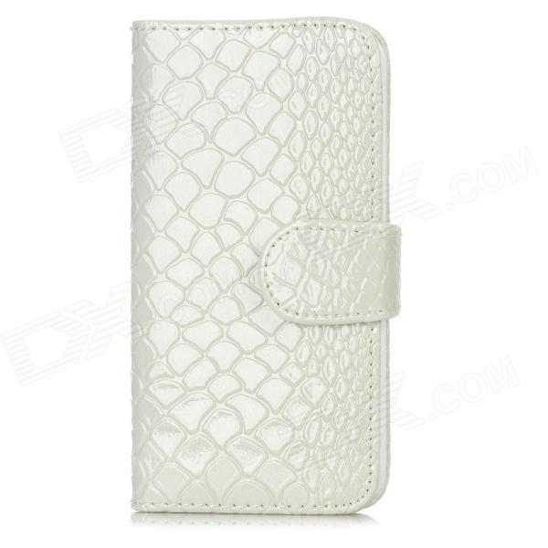 Snakeskin Pattern Protective Flip Open PU Leather Case w/ Card Slots for Iphone 5 - White stylish pattern protective flip open pu leather case w stand card slots for iphone 6 4 7 white