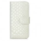 Snakeskin Pattern Protective Flip Open PU Leather Case w/ Card Slots for Iphone 5 - White