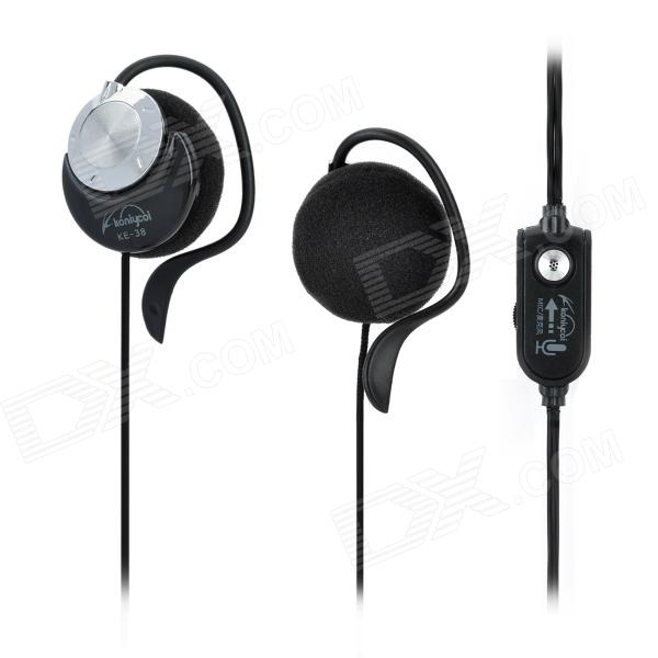 Koniycoi KE-38MV Stereo Ear Hook Style Headphones w/ Mic + Volume Control - Black (210cm-Cable)