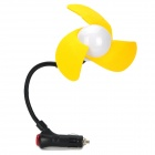 Mini Car Cigarette Lighter Powered 3-Blade Cooling Fan - Yellow + Black