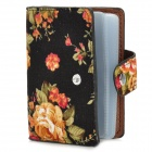 Flower Pattern Fashion Woman's Name Card Case w/ Slots + Buckle - Black