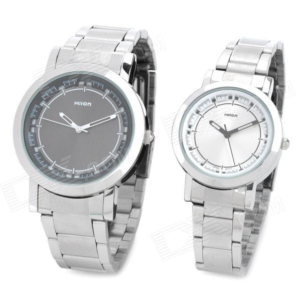 Wilon 1010 Fashionable Couple Stainless Steel Quartz Analog Waterproof Wrist Watch - Black + Silver