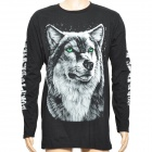 Wolf Pattern Cotton Long Sleeve T-shirt