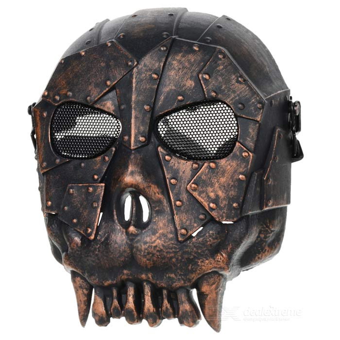 Chief SW2103 Skull Style Full-face Mask for War Game / CS - Black + Bronze tactical skull face mask military field us active duty m50 gas mask cs field skull mask for hunting paintball