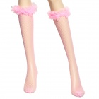 Super Sexy Mesh Tights Grid Lace + Spandex Socks for Christmas - Pink (Pair)