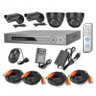 D-S161 4-CH H.264 Linux OS Security Surveillance DVR w/ 4 CMOS CCTV Cameras Set - Black + White