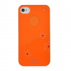 Newtons Shining Crystal Flower Pattern Protective PC Back Cover Case for Iphone 4 / 4S - Orange