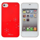 Newtons Shining Crystal Flower Pattern Protective PC Back Cover Case for Iphone 4 / 4S - Red