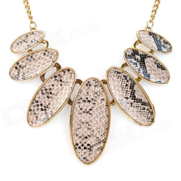 Strong Statement Oval-shaped Snake Skin Texture Necklace - Golden (40cm-Chain) alloy snake chain necklace