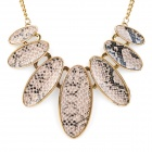 Strong Statement Oval-shaped Snake Skin Texture Necklace - Golden (40cm-Chain)
