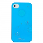 Newtons Shining Crystal Flower Pattern Protective PC Back Cover Case for Iphone 4 / 4S - Blue