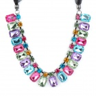 Fashion Colorful Atmosphere Crystal + Silk Ribbon Necklace