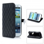 Protective Lambskin + PU Leather Flip Cover Case for Samsung i9300 Galaxy S3 - Black