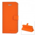 Newtons Flip-Open Folding Stand PU Leather Case for Iphone 5 - Signal Orange