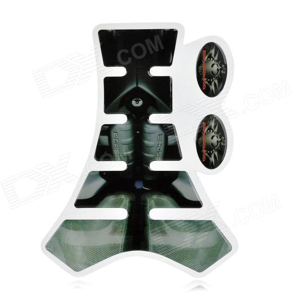 Protective Fish Bone Style Motorcycle Oil Tank Sticker - Black + Grey Green