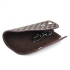 CP004 Universal Genuine Leather Protective Pouch Keychain for Car Smart Key - Brown + Black