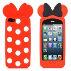 Bowknot Style White Dot Protective Silicone Case for iPhone 5 - Red + Black