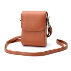 Protective PU Leather Case w/ Shoulder Strap for Sony Cameras - Brown