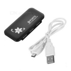 Plum Blossom Pattern USB 2.0 4-Port HUB w/ Cable - Black