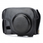 G15 Protective Detachable PU Leather Camera Case w/ Shoulder Strap for Canon PowerShot G15 - Black
