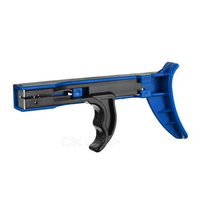 Ou Bao WJ-100 Handheld Cable Tie Fastening Gun Tool - Black + Blue hot sale ly 600n cable tie gun for nylon cable tie fastening tool for cable tie gun