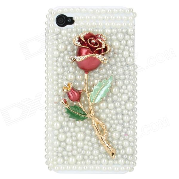 3D Metal Bling Rose Plastic Back Case for Iphone 4 / 4S - White + Red protective cartoon silicone back case for iphone 4 4s red white