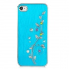 Newtons Flower with Rhinestone Pattern Aluminum Alloy Back Case for Iphone 4 / 4S - Dark Cyan