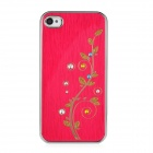 Newtons Flower with Rhinestone Pattern Aluminum Alloy Back Case for Iphone 4 / 4S - Dark Red