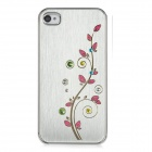 Newtons Flower with Rhinestone Pattern Aluminum Alloy Back Case for Iphone 4 / 4S - Silver