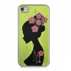 Newtons Tucked Hair Beauty Pattern Aluminum Alloy Back Case for Iphone 4 / 4S - Yellow Green + Black