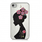 Newtons Tucked Hair Beauty Pattern Aluminum Alloy Back Case for Iphone 4 / 4S - Silver + Black