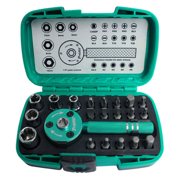 Pro'sKit SD-2319M Multifunction 1/4 Palm Ratchet Wrench Bit & Socket Set - Mint Green 14pcs the key with combination ratchet wrench auto repair set of hand tool kit spanners a set of keys herramientas de mano