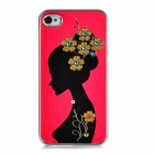 Newtons Tucked Hair Beauty Pattern Aluminum Alloy Back Case for Iphone 4 / 4S - Dark Red + Black