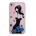 Newtons Long-Haired Beauty Pattern Aluminum Alloy Back Case for Iphone 4 / 4S - Thistle + Black