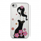 Newtons Long-Haired Beauty Pattern Aluminum Alloy Back Case for Iphone 4 / 4S - Silver + Black