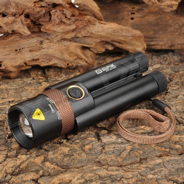 Sipik SK75 350lm 3-Mode White Zooming Flashlight - Coffee + Black (2 x 14500 / AA)