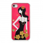Newtons Long-Haired Beauty Pattern Aluminum Alloy Back Case for Iphone 4 / 4S - Dark Red + Black