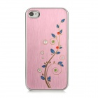 Newtons Flower with Rhinestone Pattern Aluminum Alloy Back Case for Iphone 4 / 4S - Thistle