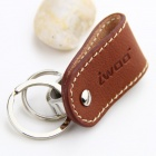 iwoo 051 Man's Cupronickel Tin Alloy Dual Rings Genuine Leather Keychain - Brown + Silver