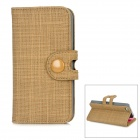 Protective Cloth Grain PU Leather Flip Open Case for Iphone 5 - Brown