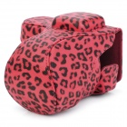 Leopard Pattern Protective PU Camera Case w/ Strap for Sony NEX5C - Red + Black