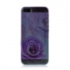 Rose Pattern Rain Drop Style Protective ABS Hard Back Case for Iphone 5 - Transparent + Purple