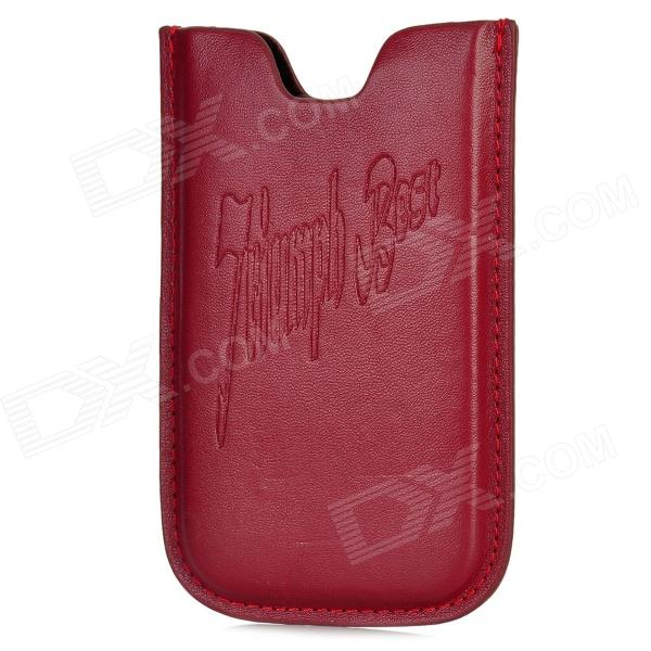 Fashion PU Leather Protective Pouch for Iphone 4 /4 S - Purplish Red protective pu leather pouch bag for iphone 5 4 4s coffee