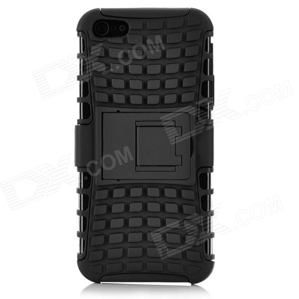 Detachable Protective Shockproof Soft Plastic + PC Back Case Cover Stand for Iphone 5 - Black protective detachable plastic case for iphone 5 black